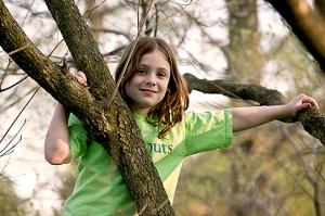 My sister in neighbor's dogwood tree. Photo Courtesy: Donald Blake.