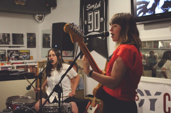 Bloomington band, Brenda's Friend, at Indy CD & Vinyl. Photo credit to Adan Orona.
