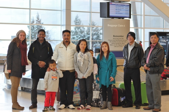 Refugee family at Indianapolis airport - provided by Exodus Refugee Immigration